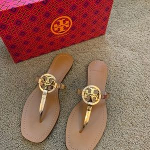 NEW 8 Tory Burch Rose Gold Mini Miller Sandals